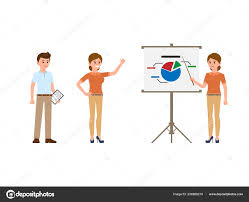 Man Woman Office Workers Making Report Flip Chart Cartoon