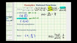 ex find the intercepts asymptotes and hole of a rational function