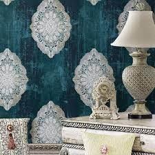 HOME JZ127 Luxury Blue Damask Wallpaper ...
