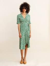 Ganni Dalton Crepe Dress Verdant Green Fashion Dresses