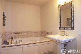 bathroom restoration. Bathroom-remodel-jacuzzi-bathtub-marble-tile-pedestal-sink- Bathroom Restoration Gerety Building \u0026