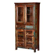 Free Standing Display Cabinets Rustic Reclaimed Wood Glass Door Freestanding Display Cabinet 90