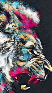 Lion Roar Animal Abstract Colorful 4K ...