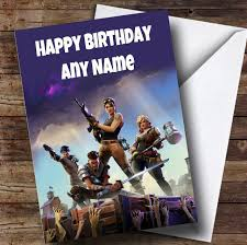 printable children s birthday cards personalised fortnite game childrens birthday card