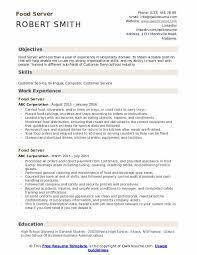 Server Experience Resume Examples Food Server Resume Samples Qwikresume