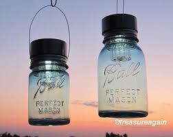 2 hanging mason jar solar lights ball mason jars quart pint blue antique hanging outdoor lanterns handmade upcycled garden lights ball mason jar solar lights