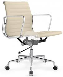 eames reproduction office chair. Eames Management Low Back Office Chair Cream Leather Reproduction E