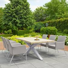 Timor <b>Outdoor Dining Table</b> 8 Seater <b>Grey</b> Teak and White Aluminium