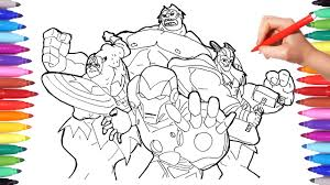 Some of the coloring page names are iron man hulkbuster coloring iron man hulkbuster hulk coloring avengers coloring, iron man hulkbuster vs hulk coloring sketch click on the coloring page to open in a new window and print. Superheroes Coloring Pages For Kids How To Draw And Color Iron Man Thor Captain America Hulk Youtube