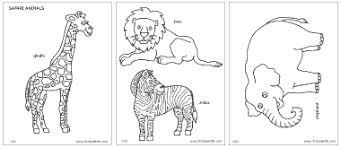 Safari Animals Coloring Page Educ Land Animals Pinterest