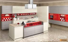 modern high gloss lacquer and gray melamine kitchen cabinet op15 058