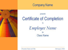 Certificate Of Training Completion Template Certificate Of Training Completion Template
