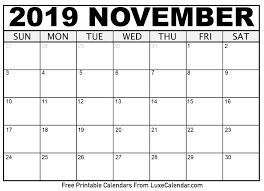 November Through November Calendars November 2019 Calendar Printable Luxe Calendar