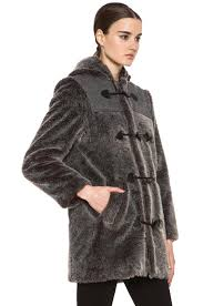 image 4 of a p c faux fur duffel coat in grey