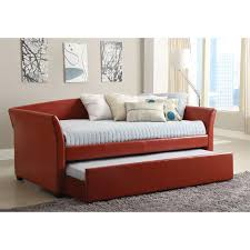 Furniture of America Contemporary Leatherette Upholstered Daybed with  Trundle | Hayneedle