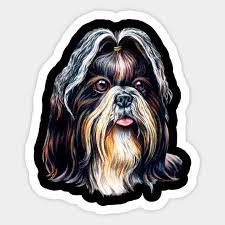 cute shih tzu dog art design portrait sticker