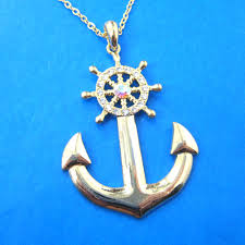 plush design anchor pendant necklace nautical and wheel in gold with