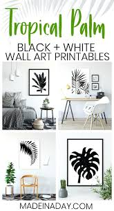 black and white wall decor black white tropical palm leaf wall art black and white wall