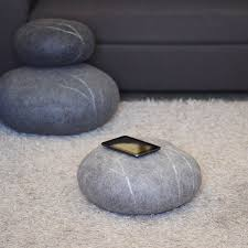 Amazon.com: Felted wool stones Ottoman Floor cushions Pouf Floor pillows  Seat cushions Furniture Decorative pillows Gray Set of 3: Handmade