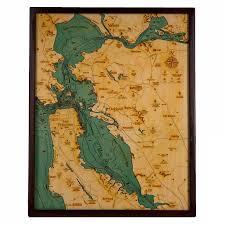 San Francisco Bay Bathymetric Wood Chart Home San