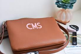 make your own metallic monogrammed leather bag