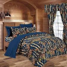 Details about 12 PC NAVY BLUE CAMO COMFORTER AND SHEET SET CURTAINS FULL CAMOUFLAGE WOODS
