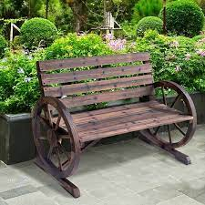 outsunny wooden wagon wheel bench