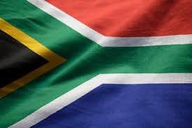 Closeup, de, babados, áfrica sul, bandeira, áfrica sul, bandeira, soprando,  em, vento   Foto Premium