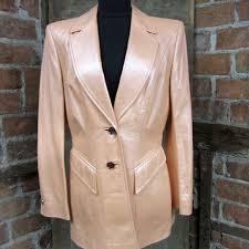 escada pearl leather blazer melon pink jacket thumbnail thumbnail thumbnail thumbnail