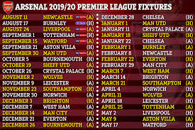 Football League Table Wall Chart Premier League 2019 20 Fixtures Chelsea Arsenal Man Utd