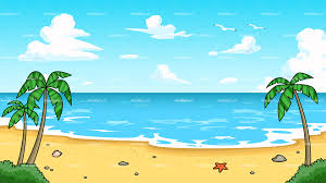 tropical beach with calm waters background vector cartoon clipart