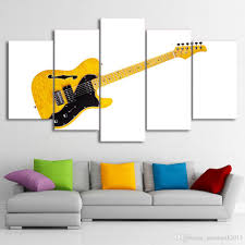 2018 black and white yellow guitar home decor wall art canvas