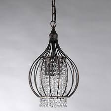 chandelier small 3 light antique bronze metal bell shade crystal pendant