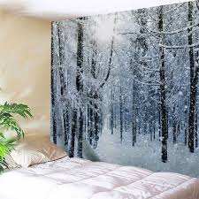 snow forest print tapestry wall hanging art grey white w59 inch l51 inch