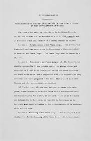 the kennedy legacy abroad peace corps community archives  executive order in 1961 establishing the peace corps