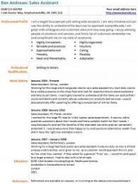 Cv Sales Assistant Sales Assistant Cv Example Learnist Org