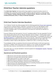 Questions To Ask On Work Experience Child Care Teacher Interview Questions