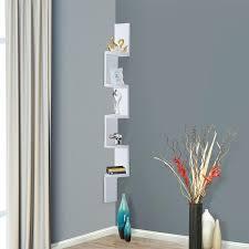 5 tier wall mount corner shelves hanging home storage rack zig zag decor white