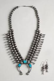 995 00 navajo kingman turquoise sterling silver squash blossom necklace set