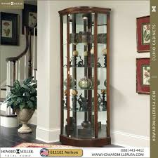 680529 modern corner curio cabinet cherry finish curved door room