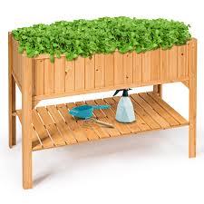 raised garden bed elevated planter box shelf standing garden herb garden wood 0