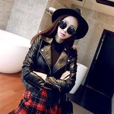 womens korean style slim fit leather short jacket high quality imitation sheepskin women