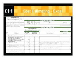 Project Estimate Template Excel It Project Estimation Template