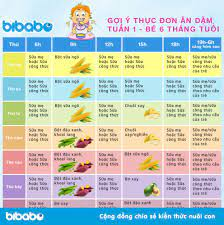 Thực đơn ăn dặm truyền thống cho bé 6 tháng - Tuần 1 (Dành cho bé ăn dặm  tích cực - Ngày ăn 1-2 bữa) - bibabo.vn