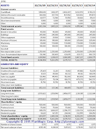 Online Balance Sheet Online Business Plan Projected Balance Sheet