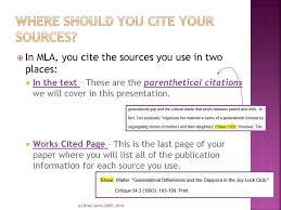 Mla Format Quoting Using Parenthetical Citations Ppt Download