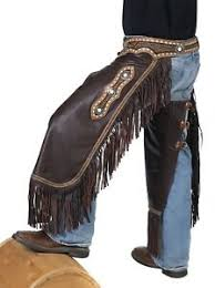 Details About Western Chinks Chaps Floral Buckstitched Yoke Smooth Brown Leather M L