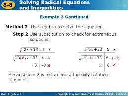 solving radical equations 8 8 and