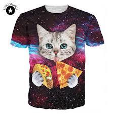 Galaxy Kitten T Shirt <b>Harajuku</b> Cat <b>Eat</b> Pizza Tacos 3d Cat Tee ...
