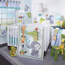 gender neutral nursery room with safari themed bedding set in white wooden crib plus lime green chair on grey carpet floor